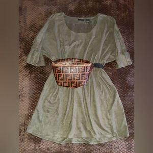 Faux suede camo green shirt/dress